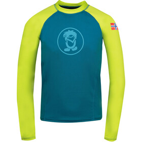 TROLLKIDS Kvalvika Shirt Kids, petrolio/giallo